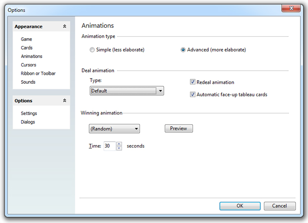 SolSuite - Customize Animations dialog box