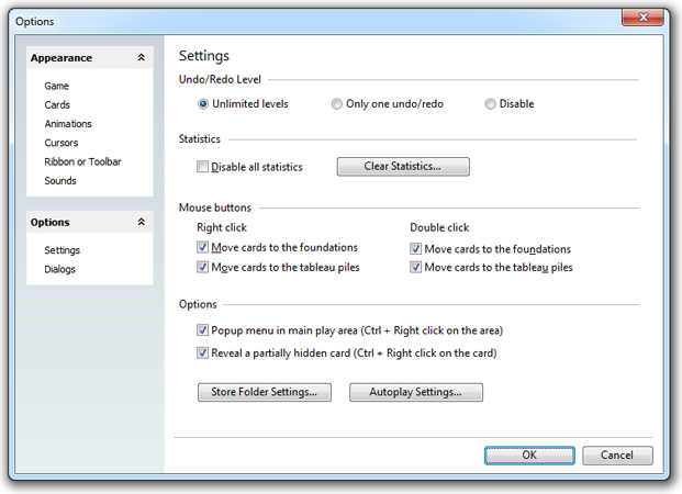 SolSuite Options dialog box
